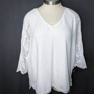 INC Womens Top Shirt Plus 3X White French Terry